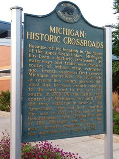 Michigan: Historic Crossroads historical marker at a rest area in Michigan
