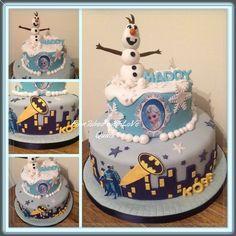 Superheroes and princesses cake