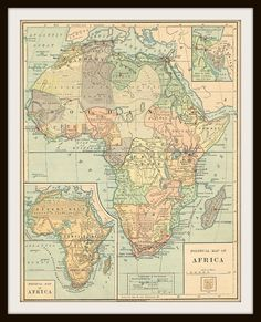 1885 AFRICA Antique Map  Buy 3 Maps Get 1 FREE  by KnickofTime, $13.00