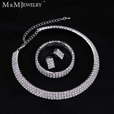 New 2016 Classic Circle Czech Rhinestone Crystal Wedding Jewelry Sets African Jewelry Set Necklace Earrings Bracelet 3TL001