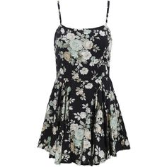 Spaghetti Strap Pastel Floral Print Chiffon Dress ($18) ❤ liked on Polyvore featuring dresses, black, black shift dress, chiffon sleeve dress, shift dress, knee-length dresses and floral dress