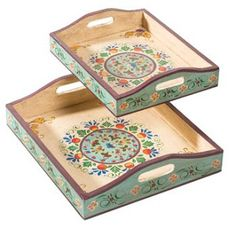 What if we painted cheap trays to match our theme to frame/fill out the centerpieces? Set of 2 handpainted wood indian trays Decoupage Furniture, Decoupage Box, Decoupage Vintage, Hand Painted Furniture, Wood Crafts, Diy And Crafts, Painted Trays, Painted Wood, Wood Tray