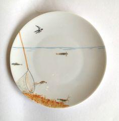 assiette à dessert en porcelaine motif marin