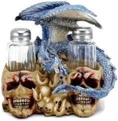 3D Blue Dragon on Skulls Salt & Pepper Shakers Table Set