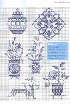 Blue and White Motif Part 2 Cross Stitch Numbers, Cross Stitch Books, Mini Cross Stitch, Cross Stitch Alphabet, Modern Cross Stitch, Cross Stitch Flowers, Cross Stitch Charts, Cross Stitch Designs, Cross Stitch Patterns