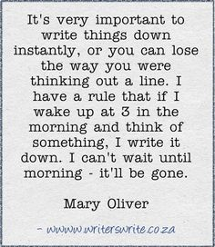 Mary Oliver Quote from Writers Write, this is so true I've lost many an idea b/c I didn't write it down.