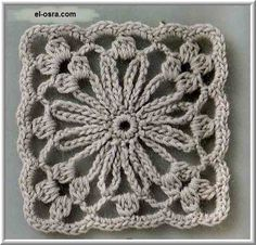 Nice flower crochet square with diagram not in English but the diagram is enough.