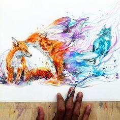 """Good Bye My Love"" Watercolor on Paper #watercolor #painting #fox #illustrations #nawden #artistmafia #artfido #art_empire #art_collective #art_spotlight #daily__art #artistsina"