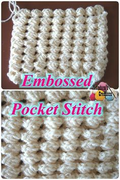 Crochet tutorial that teaches you how to crochet the Embossed Pocket Stitch. For written pattern http://www.meladorascreations.com/crochet-embossed-pocket-st...