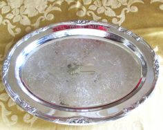 "Oval Silver Plated Trophy Tray 16"" with Award Engraving by WhatnotGems on Etsy"