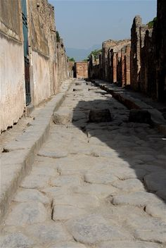 Street in Pompeii. Know what the stepping stones are for?