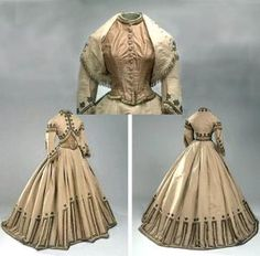Zouave dress ca. early 1860s. Three pieces (bodice, skirt, bolero jacket). Jacket and skirt of light caramel brown silk faille with shirred white tulle trim on sleeves and velvet ribbon and lace motifs. Bodice of white canvas covered in front with brown taffeta; closes front with 11 buttons. Danish National Museum by LiesbethLap