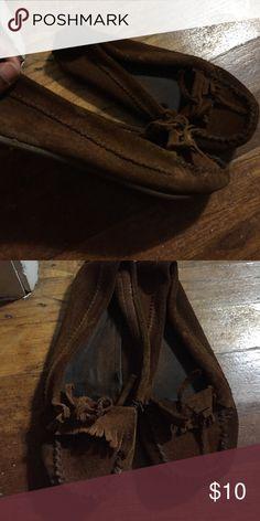 Brown suede moccasins Brown suede moccasins with tassel toes Arizona Jean Company Shoes Moccasins