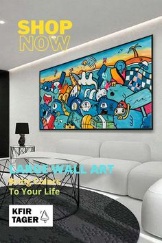 """This large pop art style canvas print of original work is all sorts of fun, bringing joyously colorful chaos to any surface that needs livening up. """"Ocean Life"""" features an eclectic cast of sea creatures tearing it up on the surf and will have everyone wishing for a return of those perfect summer days. Colorful Artwork, Colorful Paintings, Modern Art For Sale, Painting Prints, Art Print, Artwork For Living Room, Canvas Art, Canvas Prints, Graffiti Styles"""