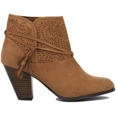 Lasercut Detail Ankle Boots - Camel Suede ($40) ❤ liked on Polyvore featuring shoes, boots, ankle booties, ankle boots, camel suede, faux-suede boots, strappy ankle boots, suede boots, short boots and strappy booties