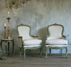 Vintage French Style Louis XV Shabby Mint & Gilt  Armchairs Pair-one of a kind