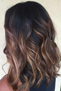 we'd like to show the most 10 hottest caramel balayage hair ideas for brunettes, let's have a look.These are some of our favorite caramel balayage balayage hair ideas to inspire you! Hair Color Balayage, Hair Highlights, Balayage On Black Hair, Brown Highlights On Black Hair, Ombre On Black Hair, Color Highlights, Hair Color Black, Medium Balayage Hair, Tiger Eye Hair Color
