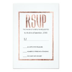 Simple Wedding RSVP Cards Chic Faux Rose Gold RSVP Cards
