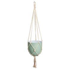 Sfeervolle hangende bloempot. 70 cm hoog. Kleur: groen. Verkrijgbaar in diverse kleuren. #tuin #kwantumlente #bloempot