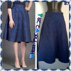 """💸HP SALE Final💸NEW 50's Quilted Jacquard Navy 💙️Host Pick for """"Fashion Flashback Party""""💙 New waited too long to return, has not been used. Size 10 & measurements are in 3rd picture. It is a beautiful navy royal blue heavier material perfect for cold weather. It's quilted so it is a textured material. Fuller description is in second picture. Fully lined. I loved it but they we're sold out when I tried to purchase another size . eShakti Skirts"""