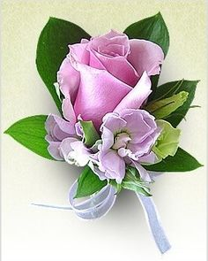 Add purple or lavender at base with fern and babies breath .Wedding_corsages photo only