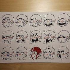 Drawing Tips Sheet two of who knows how many. Another expression sheet. I have at least three full sheets for reference. I have to finish inking the… - Drawing Face Expressions, Facial Expressions, Drawing Reference Poses, Drawing Tips, Drawing Ideas, Expression Sheet, Cartoon Expression, Drawing Base, Cry Drawing