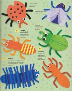Pipe cleaner bug crafts - great craft for kids Kids Crafts, Summer Crafts, Toddler Crafts, Projects For Kids, Craft Projects, Arts And Crafts, Craft Ideas, Insect Crafts, Bug Crafts