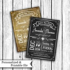 Rustic Chalkboard or Vintage Style SAVE the DATE by PSPrintables, $12.00