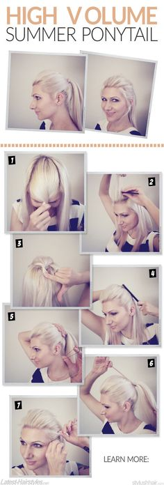 Super chic, high volume ponytail tutorial by @Jenny Strebe :) http://www.latest-hairstyles.com/tutorials/3-trendy-ponytails-summer-high-volume-pony.html