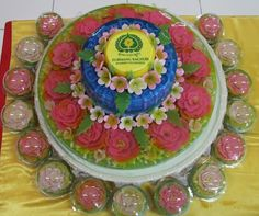 3 tiers art jelly , with flowers inside and outside