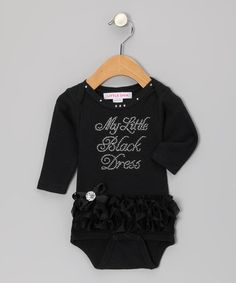 Look what I found on #zulily! Black 'My Little Black Dress' Ruffle Bodysuit - Infant by Little Diva #zulilyfinds