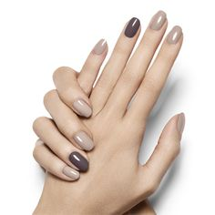 smoky accent by essie - instantly create mysterious charm in soft sandy beige and a single nail accent in stone cold fox gray.