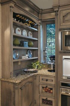 Light distressed kitchen cabinets - LOVE this color as alternative to white!