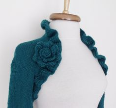 Teal CASHMERE Bridal Shrug long sleeves With by knittingshop, $78.00