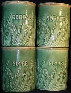 RARE set of 4 Wheat design green canisters from Hull Pottery Co. Hull Pottery, Mccoy Pottery, Glazes For Pottery, Vintage Pottery, Vintage Ceramic, Pottery Art, Antique Stoneware, Stoneware Crocks, Earthenware
