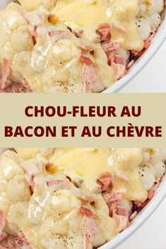 Chou-fleur au bacon et au chèvre - Meatloaf Recipes Diet Dinner Recipes, Gourmet Recipes, Appetizer Recipes, Cooking Recipes, Healthy Recipes, Kid Recipes, Cheese Recipes, Cook Chicken In Oven, Food Film