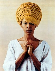 Erykah Badu crochet hat was designed by Afya Ibomu author of Get Your Crochet on Hip and Cool Caps
