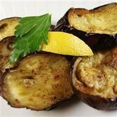 Olive Oil Roasted Eggplant with Lemon Allrecipes.com.  Video adds garlic and oregano and gives serving suggestions.
