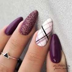 Make an original manicure for Valentine's Day - My Nails Perfect Nails, Gorgeous Nails, Pretty Nails, Nails Factory, Plaid Nails, Manicure E Pedicure, Cute Acrylic Nails, Nagel Gel, Purple Nails