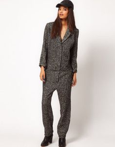 ShopStyle: ASOS Tweed Boiler Jumpsuit
