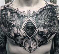 Sweet Guys Sketched All Seeing Eye Wolves Chest Tattoo
