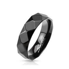 21c9f574d1b Coolbodyart Unisexe Bague en Acier INOX Noir Diamant Facette 6mm Largeur  Finition Poli Brillant Disponibles Taille