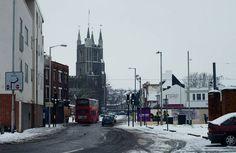 Thornton Heath, Double Decker Bus, Croydon, Surrey, Street View, England, Snow, Vintage, Vintage Comics
