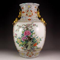 Chinese Gilt Gold Famille Rose Porcelain Big Vase
