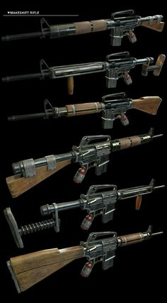 Serviceman's Rifle concepts by Sci Fi Weapons, Weapon Concept Art, Weapons Guns, Fantasy Weapons, Guns And Ammo, Post Apocalyptic Art, Fallout Art, Homemade Weapons, Gun Art