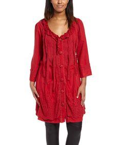 Loving this Dark Red Lace-Trim Linen-Blend Button-Up Jacket - Women on #zulily! #zulilyfinds