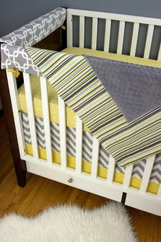 Crib Bedding Upgraded Rail Guard/ Fitted Sheet/ by modifiedtot, $325.00