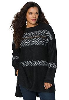 097211e039d Womens Plus Size Fair Isle Sweater BlackS     Find out more about the great