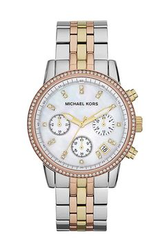 Tri-color is different! Michael Kors 'Ritz' Chronograph Bracelet Watch available at Nordstrom