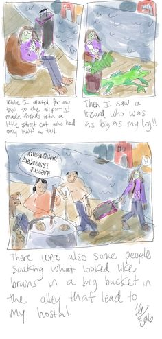 Comic about Thailand . so funny! Autobiographical Comics, Large Lizards, Solo Trip, Thailand Travel, Solo Travel, Bangkok, Brain, Soup, Street